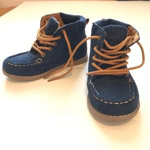 Toddler Boys Microsuede Moc Toe Lace Up Boots